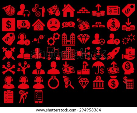 Commerce Icon Set. These flat icons use red color. Glyph images are isolated on a black background.  - stock photo