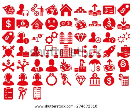 Commerce Icon Set. These flat icons use red color. Glyph images are isolated on a white background.  - stock photo