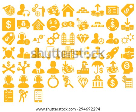 Commerce Icon Set. These flat icons use yellow color. Glyph images are isolated on a white background.  - stock photo