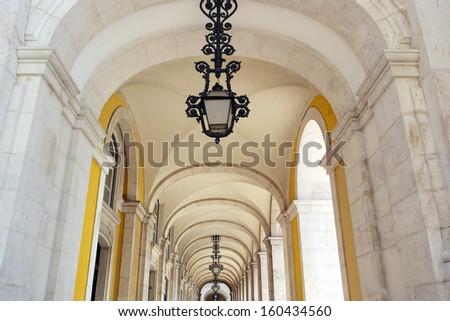 Commerce square arcade, Lisbon, Portugal - stock photo