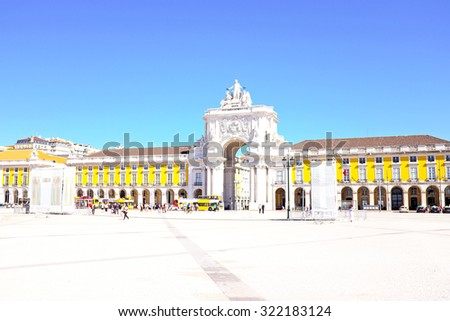 Commerce square, one of the most important landmarks of Lisbon, with the famous Triumphal Arch in  Portugal - stock photo