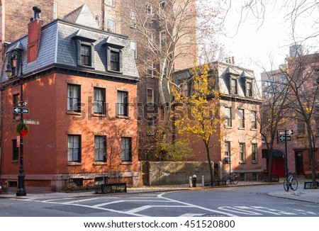 Commerce Street scene in the historic Greenwich Village neighborhood in New York City - stock photo