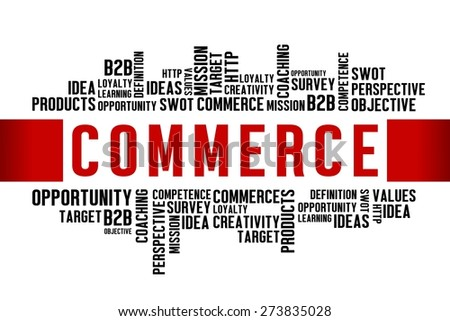 COMMERCE word with business concept  - stock photo