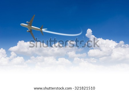 Commercial airline in the sky Spacing text. - stock photo