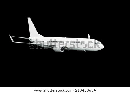 commercial airplane on black background