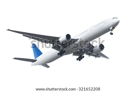 Commercial airplane on white background with clipping path - stock photo