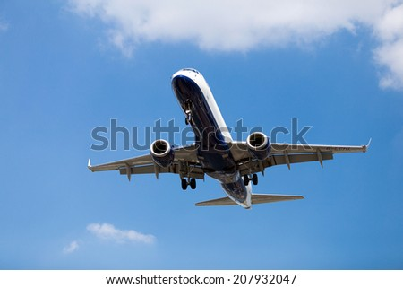 Commercial airplane preparing for landing