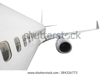 Commercial airplane side view with wing