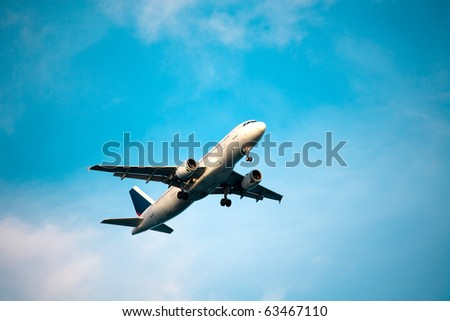Commercial airplane take off - stock photo