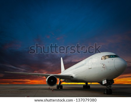Commercial airplane with nice sky