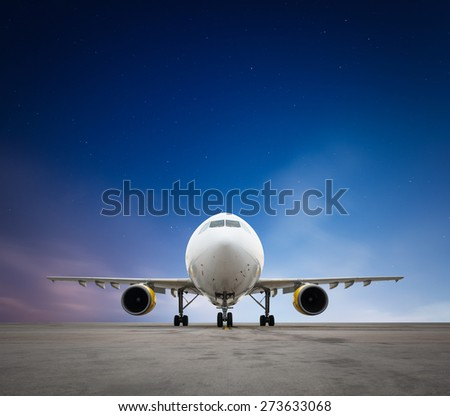 Commercial airplane with stars - stock photo