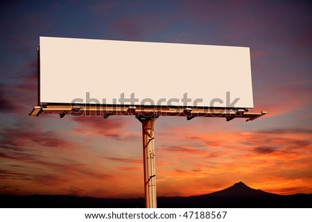 Commercial blank billboard dusk cloudy sky on background - stock photo