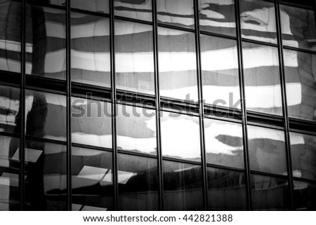 Commercial Building Close Up in Black and White