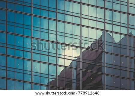 Commercial buildings in vintage tone