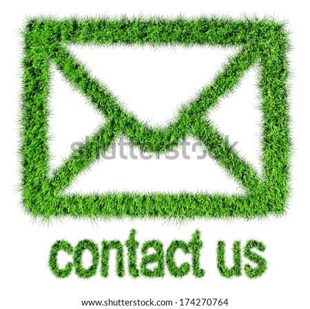commercial contact signs for business from grass - stock photo