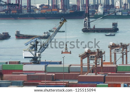 commercial container port in Hong Kong - stock photo