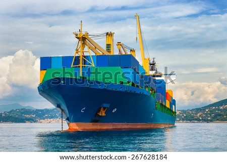commercial container ship - stock photo