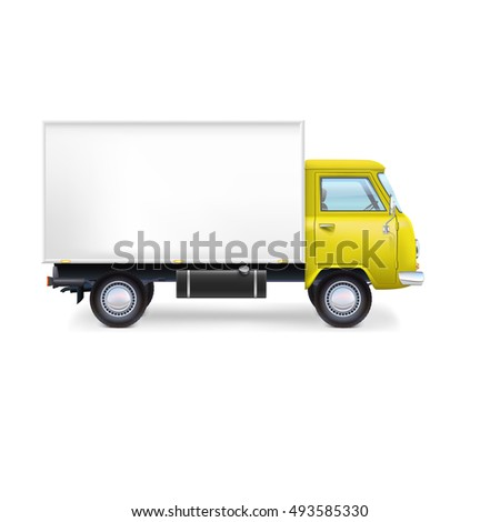 Commercial delivery, cargo truck, full editable illustration