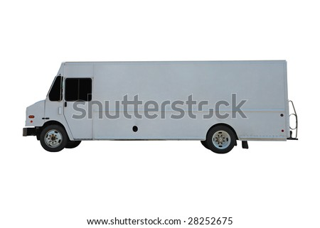 commercial delivery truck with copy space for your own logo