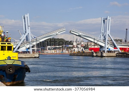 Commercial Dock with a Drawbridge - stock photo