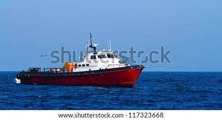 Commercial fishing boat off the coast of California, USA - stock photo