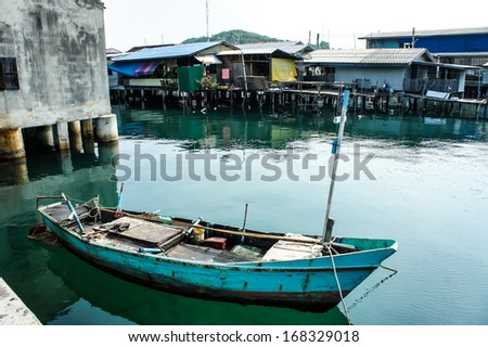 Commercial fishing boats in thailand  - stock photo