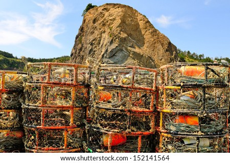 Commercial fishing crab rings or traps sit on the dock at Port Orford along the southern Oregon Coast - stock photo