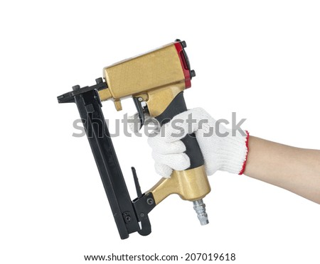 Commercial nail gun for wood framing construction isolate on white background - stock photo