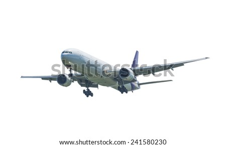 Commercial plane isolated on white background with clipping path - stock photo