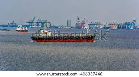 Commercial port and shipyard on Yangtze river, Shanghai, China