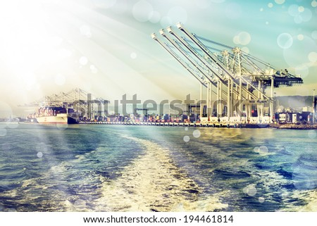 Commercial port at dusk - stock photo