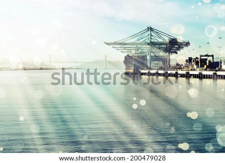 Commercial port at dusk. Port of Oakland. Bay area landscape - stock photo