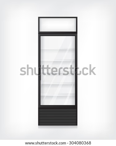 Commercial refrigerator illustration - stock photo