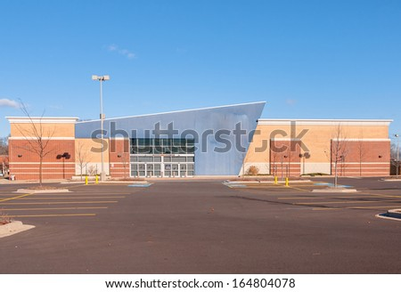 Commercial, Retail and Office building Space available for sale or lease in mixed use Storefront and office building with awning - stock photo