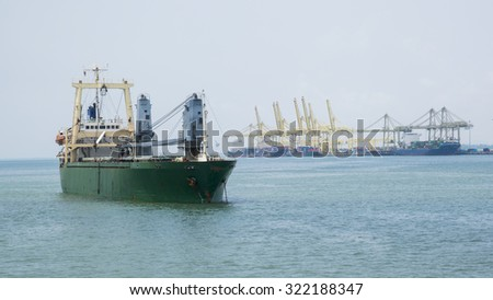 Commercial ship and shipping port
