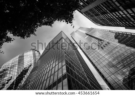 Commercial skyscrapers in London's primary financial district, the City of London, UK