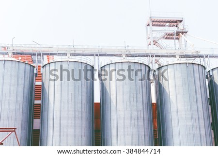 Commercial Steel Grain Silos. Steel Silos - stock photo
