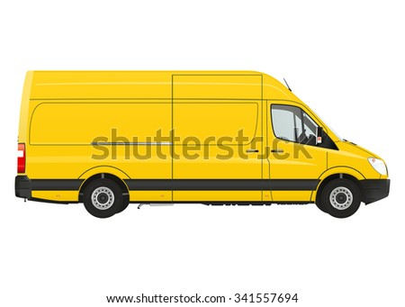 Commercial van on the white background. Raster illustration. - stock photo