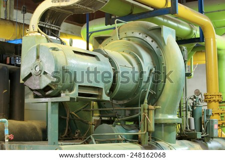Commercial water chiller , centrifugal chiller , centrifugal compressor - stock photo