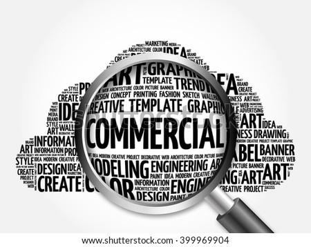 COMMERCIAL word cloud with magnifying glass, business concept