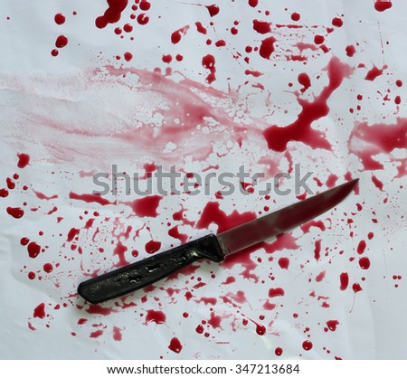 commit suicide by knife with white background