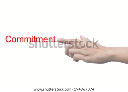 Commitment message in business man hands