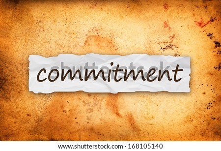 Commitment title on piece of crumpled old  paper - stock photo