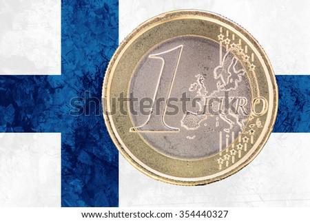 Common face of one euro coin from Finland isolated on the national finnish flag as background