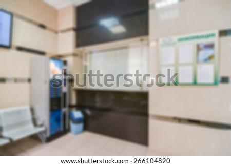 Common generic office building interior blur background - stock photo