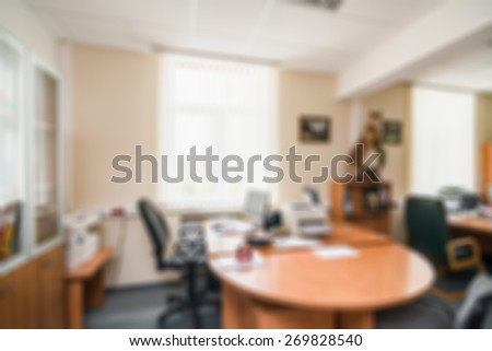 Common generic office building interior blur background - stock photo
