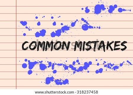 Common mistakes concept on lined paper - stock photo