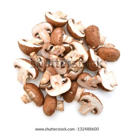 common mushroom slice on white - stock photo