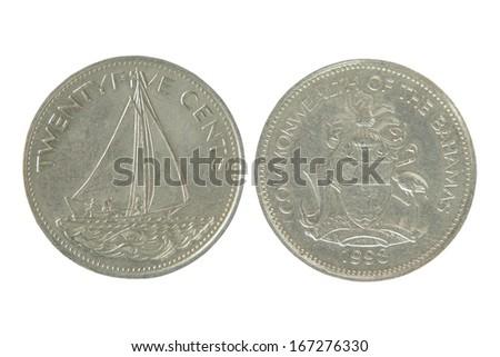 Commonwealth of the bahamas twenty five cents isolated on white background. - stock photo