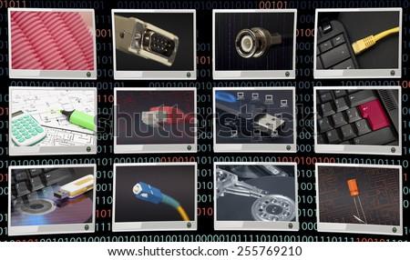 Communicacions in black background - stock photo